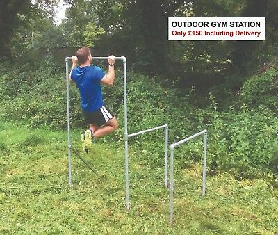 Outdoor Gym Station Pull Up Bar & Chin Up & Dips For Calisthenics & Cross Fit