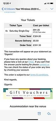 1x SATURDAY TICKET WIRELESS 2020 WIRELESS FESTIVAL (SOLD OUT EVENT)
