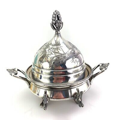 Rare Meriden Co Silverplate Silver Plate Domed Butter Dish With Peacocks
