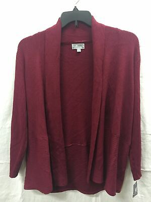 JM Collection Petite Open-Front Ribbed Duster Cherry Pie PXL