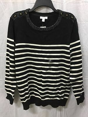 Charter Club Longsleeve Stripe With Lurex Pullover Sweater Black XL