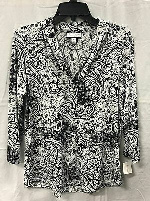 Charter Club 34-Sleeve V-Neck Top, Only at Deep Black Paisley Combo M