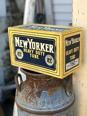 Antique Vintage New Yorker Tire Tube Box Advertising
