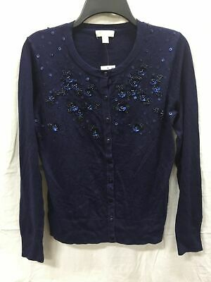 CHARTER CLUB Sweater Fog Floral Cardigan Blue XL