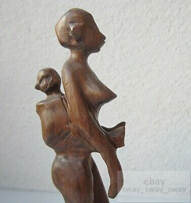 mother and child nude primitive Vintage Hand Carved Wooden figure carving wood