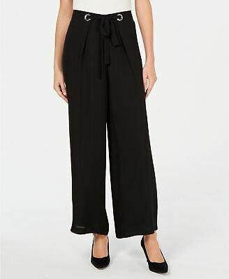 JM COLLECTION Grommet Tie Pants Black XL