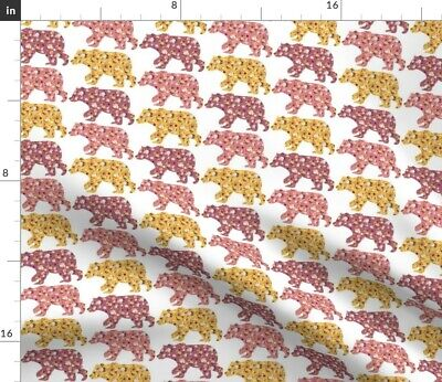 Floral Bears Woodland Decor Greenmountain Fabric Printed by Spoonflower BTY