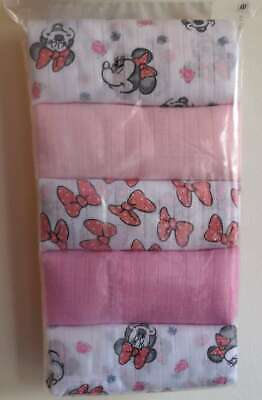 Disney Minnie Mouse Baby Girls Muslin Squares 5 Pack Burp Cloth Bib Gift New