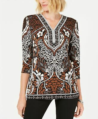 JM COLLECTION 3/4 Sleeve Printed Tunic Black M