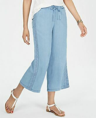Style & Co Bottom Embroidered Crop Pants Blue 2XL