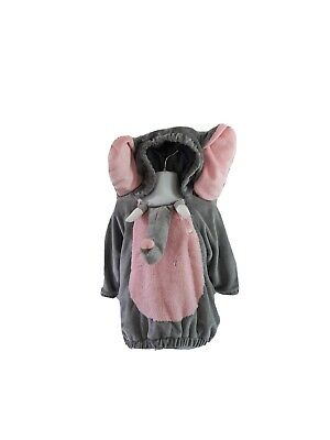 Target Elephant Costume Size 12-18 months  Hooded 1 Piece Long Sleeves Gray Pink