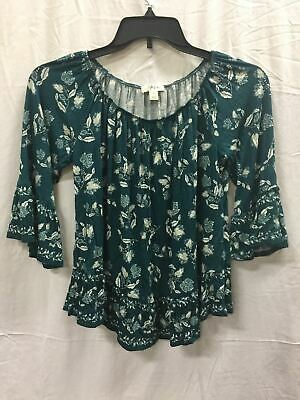 STYLE & CO Printed Onoff Shoulder Top Green LARGE
