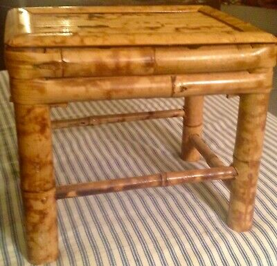 FREE SHIPPING!!! Vintage Boho Rustic Tabletop Asian Bamboo Rattan Nesting Table
