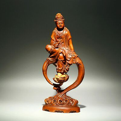 Collectable Handwork China Antique Boxwood Carve Lotus Guan Yin Buddhism Statue