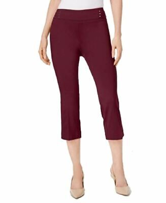JM Collection Embellished Pull-On Capri Pants Cherry Pie M