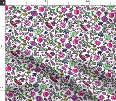 Pink Space Objects Greenmountain Astronauts To Fabric Printed by Spoonflower BTY