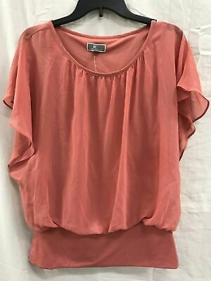 JM Collection Women's Banded-Hem Blouson Top DUSTY CORAL SMALL