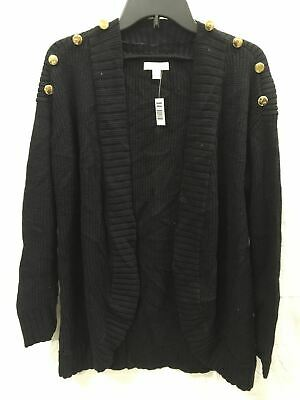 Charter Club Button Shoulder Cardigan Black Pl - New Without Tag 2630