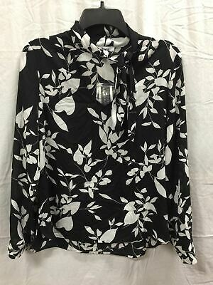 Bar Iii Ls Tie Neck Floral Blouse Black Lily S
