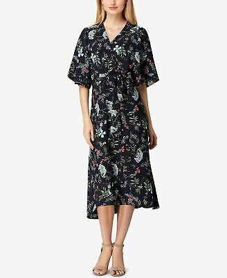 TAHARI BY ASL Kimono Floral Belt Midi Dress Blue 10
