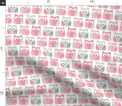 Pink Owls Gray Baby Girl Nursery Woodland Fabric Printed by Spoonflower BTY