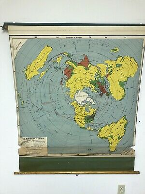 Rare VINTAGE 1951 Polar Aeronautical World A.J.NYSTROM & CO. CHICAGO ROLL UP MAP