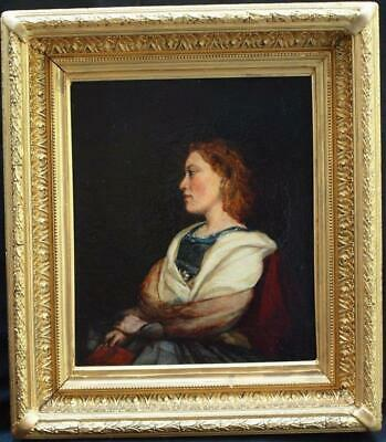 FINE 19th Century PORTRAIT YOUNG LADY LOST IN THOUGHT Antique Oil Painting