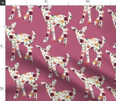 Floral Fawn Flower Greenmountain Mauve Leaves Fabric Printed by Spoonflower BTY