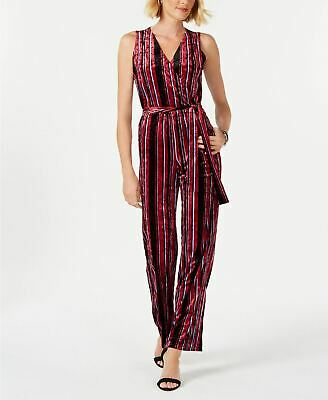 NY COLLECTION Sleeveless Stripe Jumpsuit Black PXS