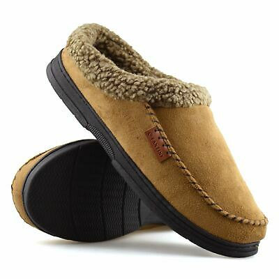 Mens Memory Foam Warm Faux Suede Fleece Slippers Slip On Clog Mules Shoes Size