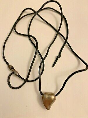 Vintage Georg Jensen Sterling Silver Heart On Cord Necklace Signed
