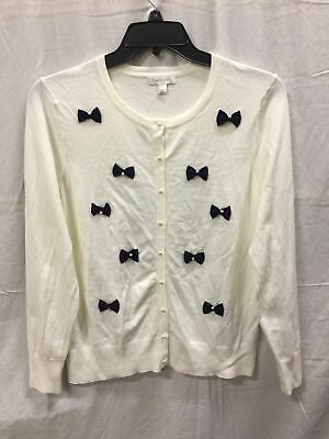 Charter Club Pearl Button Bows Cardigan White/Blue Combo-New Without Tag Xl 3787