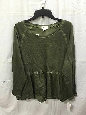 Style Co Scoop Neck Peplum Top Green Wash Xl-New Without Tag 3838