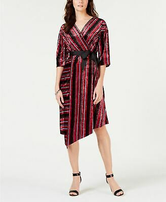 NY Collection Womens Petites Velvet Striped Wrap Dress Red PXL