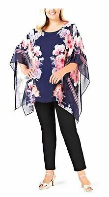 JM COLLECTION Printed Poncho Pink 2X
