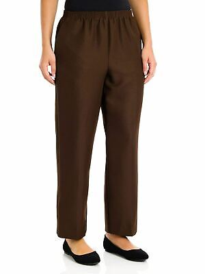 Alfred Dunner Women's Petite Polyester Pull-On Pants - Short Length, Brown, 8 Pe