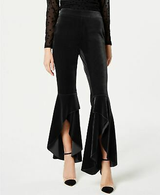 INC International Concepts Velvet Split Wide-Leg Pants Deep Black 0P