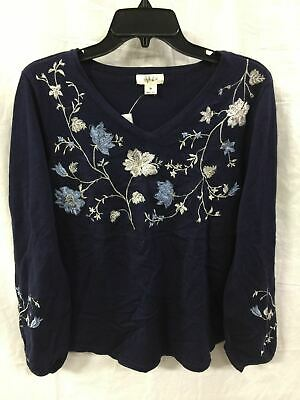 Style Co Embroidered Vneck Top Industrial Blue M - New Without Tag 6366