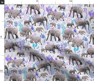 Elephant Illustration Baby Pink And Purple Fabric Printed by Spoonflower BTY