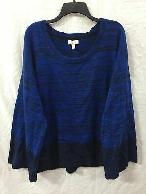 Style Co Wide Sleeve Crew Mix Knit Pullover Blue/Black Combo Xxl- New Without Ta