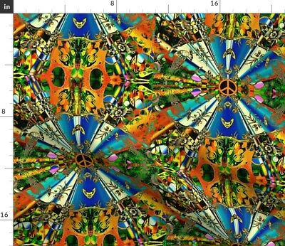 Peace Colorful All Ages Abstract Nature Frog Fabric Printed by Spoonflower BTY