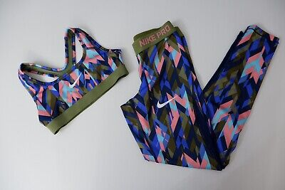 Nike Pro Gym Outfit Set Leggings Age 12-13 Top Age 8-10 Years Vgc