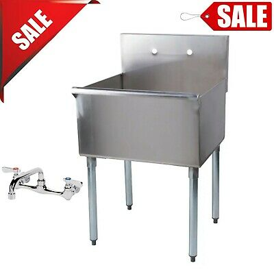 24 X 24 X 14 Bowl Freestanding Utility Stainless Steel Commercial Sink w/ Faucet