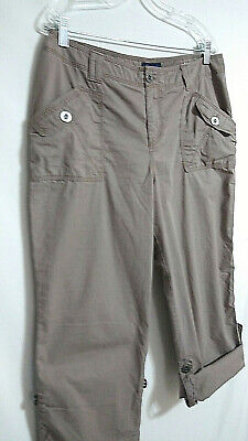 Sonoma Cargo Mom Pants Womens size 14 Khaki Beige Roll Tab Straight High Rise