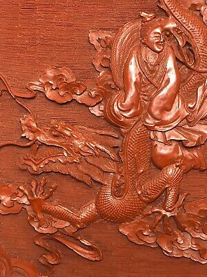 Antique~Red Cinnabar Lacquered Plate with Dragon