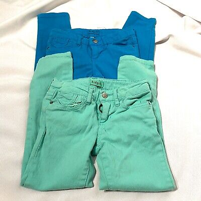 kidpik girls blue and green jean lot of two pairs size 6