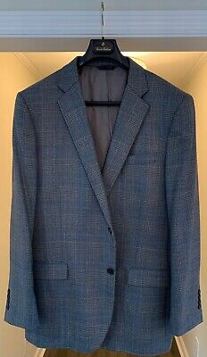 Men's Brooks Brothers Grey and Blue Plaid 100% Wool Jacket Madison Fit Size 46L