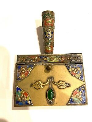 Antique Vintage Chinese Brass and Enamel Cloisonne Cigarette Ashtray