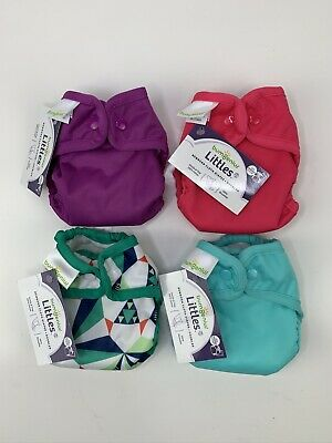 Lot Of 4 Bum Genius Newborn Littles 2.0 Cloth Diapers.
