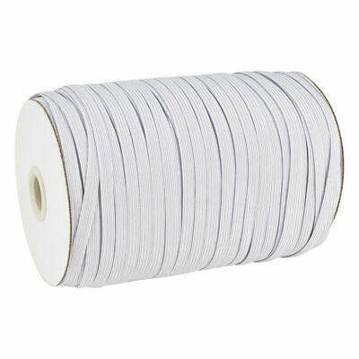 """100yds/Roll 3/8"""" Flat Elastic Cords Knit Thread Stretch Bands Ropes White 10mm"""